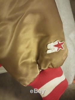 1980s Vintage Gold Satin NFL San Francisco 49ers Starter Jacket Large L