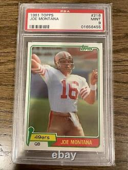 1981 Joe Montana Topps #216 Rookie RC Football Card PSA MINT 9