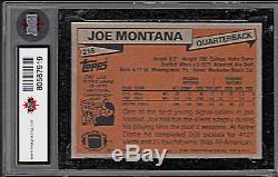 1981 TOPPS #216 JOE MONTANA RC CARD 49ERS Notre Dame Graded KSA 9 MINT Rookie
