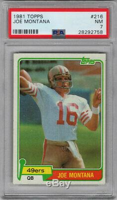 1981 Topps #216 Joe Montana / 49ers / RC Rookie Card / Hall of Fame / NM PSA 7