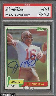 1981 Topps #216 Joe Montana 49ers RC Rookie HOF Signed AUTO PSA/DNA PSA 10