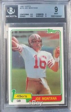 1981 Topps #216 Joe Montana 49ers Rookie RC BGS 9 Mint