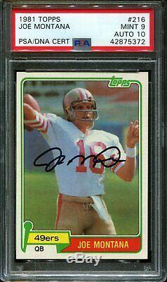 1981 Topps #216 Joe Montana Rc 49ers Hof Psa 9 Dna Auto 10