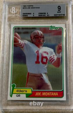 1981 Topps #216 Joe Montana Topps RC Rookie BGS 9