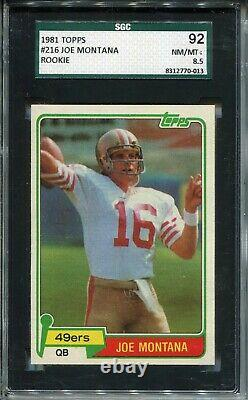 1981 Topps Football 216 Joe Montana 49ers Rookie Card Graded SGC NM Mint+ 8.5 92