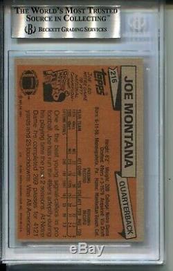 1981 Topps Football 216 Joe Montana 49ers Rookie Card RC Graded BGS 8.5 49ers 81