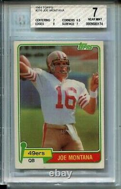 1981 Topps Football #216 Joe Montana 49ers Rookie Card RC Graded Nr Mint 7 49ers