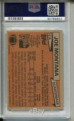 1981 Topps Football #216 Joe Montana 49ers Rookie Card RC Graded PSA 8 49ers'81