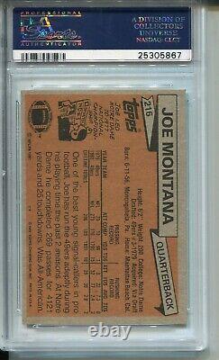 1981 Topps Football 216 Joe Montana 49ers Rookie Card RC Graded PSA Mint 9 49ers