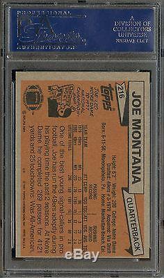 1981 Topps Football #216 Joe Montana RC Rookie HOF PSA/DNA AUTO PSA 10 GEM MINT