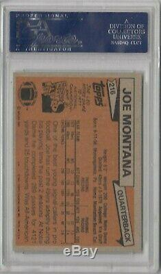 1981 Topps Football #216 Joe Montana San Francisco 49ers RC Rookie HOF PSA 8