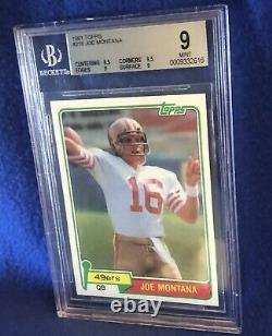 1981 Topps Football Joe Montana ROOKIE RC # 216 BGS 9 MINT Looks Gem 10 PSA