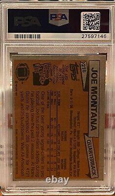 1981 Topps Football Joe Montana ROOKIE RC #216 PSA 8 NM-MT
