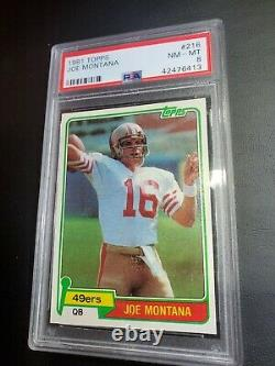 1981 Topps Football Joe Montana ROOKIE RC #216 PSA 8 NM-MT Centered HOF 49er's