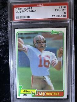 1981 Topps JOE MONTANA ROOKIE Card RC PSA 6 EX-MT #216 HOF