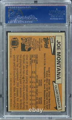 1981 Topps Joe Montana HOF ROOKIE RC #216 PSA 8 NM-MT