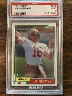 1981 Topps Joe Montana RC #216 Rookie Graded PSA 9! MINT CONDITION! HOF