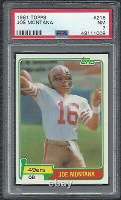 1981 Topps Joe Montana Vintage Football Rookie RC Card #216 SF 49ers HOF PSA 7