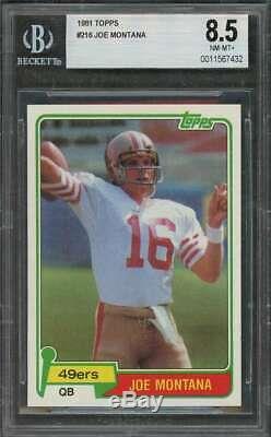1981 topps #216 JOE MONTANA san francisco 49ers rookie card BGS 8.5
