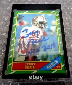 1986 TOPPS 161 Jerry Rice ROOKIE REPRINT CARD SIGNED AUTOGRAPH AUTO