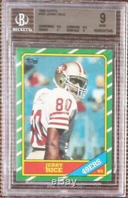 1986 Topps #161 Jerry Rice BGS 9 MINT with 9.5 Centering RC rookie card =PSA 9 HOF