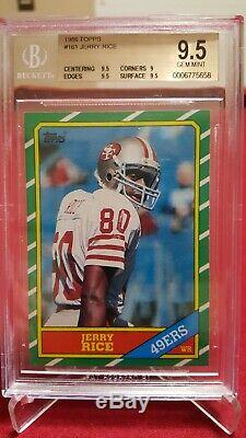 1986 Topps JERRY RICE #161 RC, graded BGS 9.5! (1 of only 59 BGS 9.5's!)