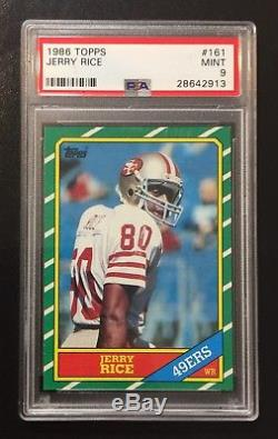 1986 Topps Jerry Rice PSA 9 MINT, San Francisco 49ers #161 Rookie Football Card