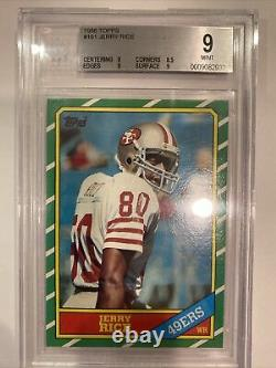 1986 Topps Jerry Rice ROOKIE RC #161 Mint BGS 9 BVG PSA 49ers GOAT