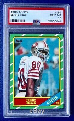 1986 Topps Jerry Rice Rookie PSA 10 GEM Mint RC #161 SF 49ers Key 80s RC