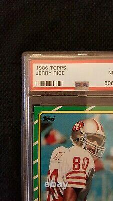 1986 Topps Jerry Rice San Francisco 49ers Rookie (RC) #161 PSA 8