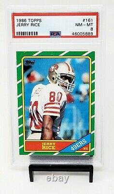 1986 Topps RC 49ers All Time Great JERRY RICE Rookie Football Card PSA 8 NM-MINT