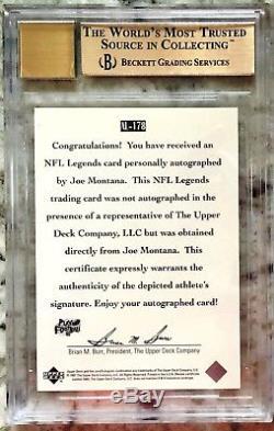 1997 Upper Deck Legends Joe Montana AUTO #AL178 BGS 9.5 GEM MINT with 10 Auto
