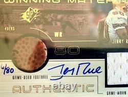 1999 SPX Winning Materials Jerry Rice #JR-R Game Used Ball Jersey Patch Auto /80