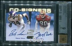 1999 Stadium Club Co-Signers Randy Moss /Jerry Rice Dual Autograph BGS 9 10 AUTO
