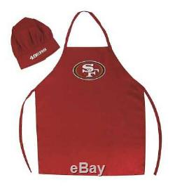2 Pack for San Francisco 49ers Chef Apron Set, Chef Hat and Kitchen Apron