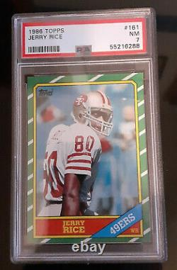 2 card Lot! 1986 Topps Jerry Rice # 161 PSA 7 and Steve Young #374 PSA 7 NM