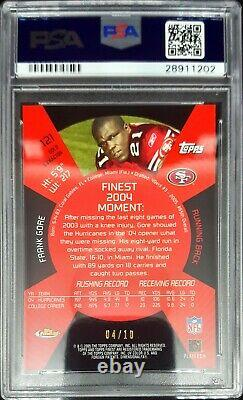 2005 Finest Frank Gore #121 Rc Gold Xfractor 4/10 PSA 10 Gem Mint POP 1