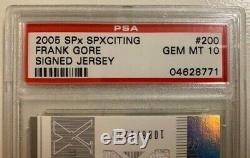 2005 Frank Gore SPx /1275 Auto Jersey RC PSA 10 Gem Mint