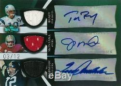 2009 Topps Triple Threads Autograph Auto Jersey TOM BRADY JOE MONTANA BRADSHAW