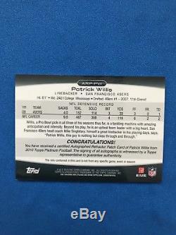 2010 Topps Platinum Patrick Willis Auto/Patch Superfractor 1/1 49ers LB