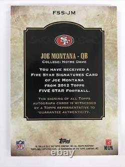 2012 Five Star Autograph Joe Montana San Francisco 49ers Auto SP 73/85 ON Card