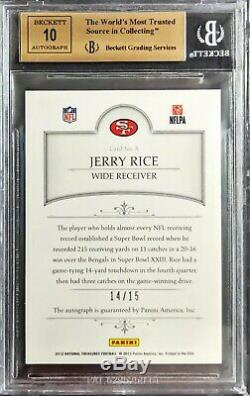 2012 National Treasures Signatures /15 Jerry Rice BGS 9.5 Auto 10 49ers HOF