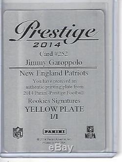 2014 Prestige JIMMY GAROPPOLO Rookie RC Yellow Print Plate AUTO #1/1