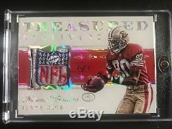 2015 National Treasures Receivers Jerry Rice Game Used NFL Logo Shield 1/1 HOF