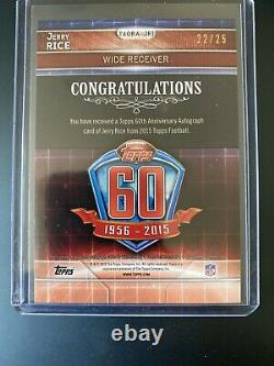 2015 topps 60th Anniversary JERRY RICE Silver Auto /25 HOF Niners