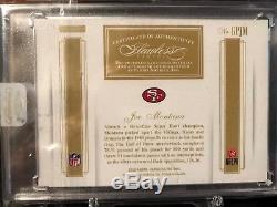 2016 Flawless Joe Montana 49ers dual patch auto gold /5