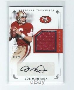 2017 National Treasures Joe Montana AUTO Jersey Card, #4/25, SF 49ers HOF