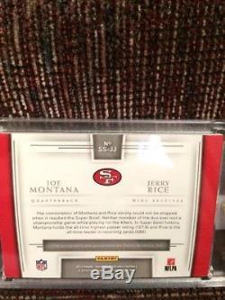 2017 National Treasures Joe Montana Jerry Rice Synced Sigs Dual On Card Auto/10