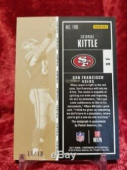 2017 Optic Contenders Gold George Kittle #10/10 RC SSP Auto 49ers Prizm Rookie