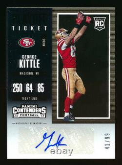 2017 Panini Contenders #164 George Kittle Rc Playoff Ticket Rookie Auto #41/99